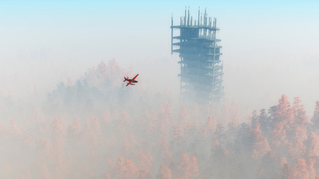 ruins: Demolished skyscraper in misty autumn forest with single engine airplane. Stock Photo