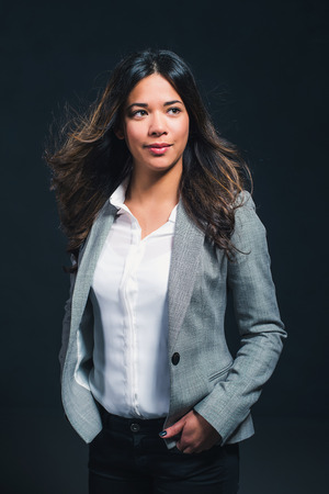 filipino ethnicity: Beauty studio portrait of mixed race girl Stock Photo