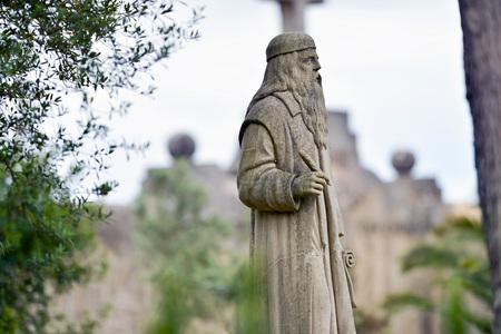 lull: Statue of Ramon Lull at sanctuary de Nostra Senyora de Cura, Puig de Randa, Mallorca, Balearic islands, Spain.