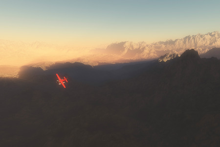 misty: Private plane over misty mountains at dawn