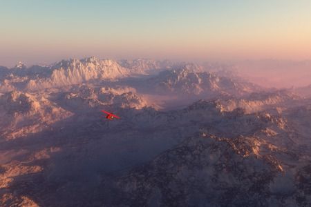 snow mountains: Misty snow mountains in morning mist with airplane flying over Stock Photo