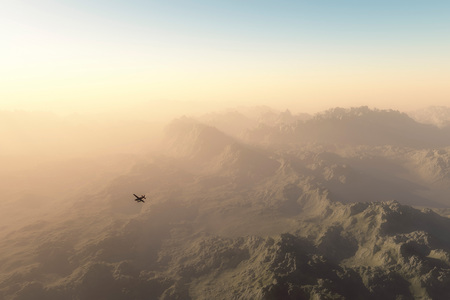 otherworldly: Private plane over misty mountains at dawn