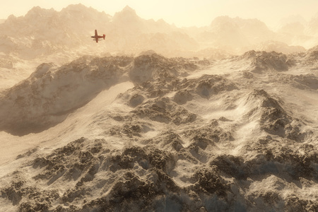 snow mountains: Red airplane over snow mountains in mist