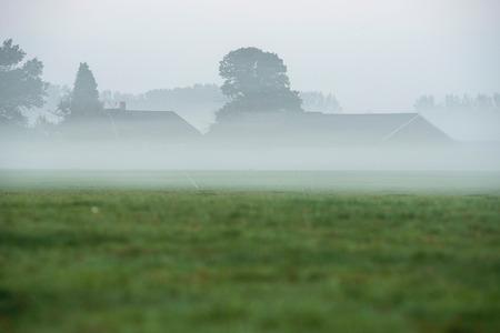 dutch: Dutch farm in the mist.
