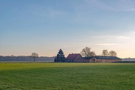 Dutch wide open rural landscape with farm. Achterhoek. Gelderland. The Netherlands.