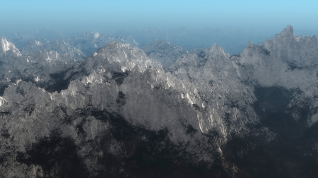 remote view: Aerial of mountain peaks covered with snow.