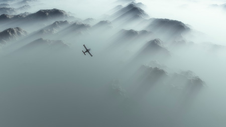mountainside: Aerial of single engine airplane over mountain range in thick layer of mist.