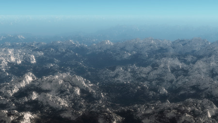 range: Aerial of mountain range covered with snow. Stock Photo