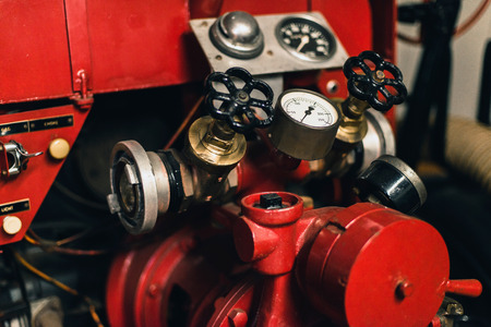 Pressure meters of old fire engine. Stock Photo