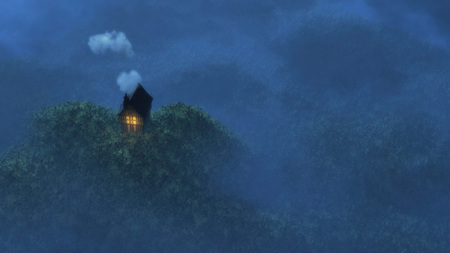 Aerial view of fairytale cottage on hill in moonlight.