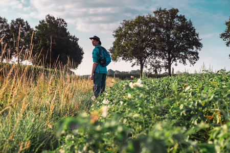 Young man in hat standing in farmland in morning sunlight. Looking over shoulder. Stock Photo