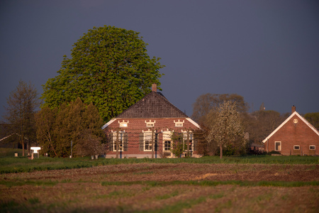 Old dutch farmhouse in evening sunlight in spring.