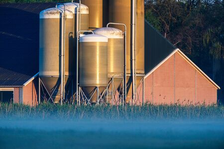 Barn with silos in misty countryside at sunrise. Stockfoto