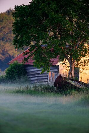 Old little barn in misty countryside during spring.