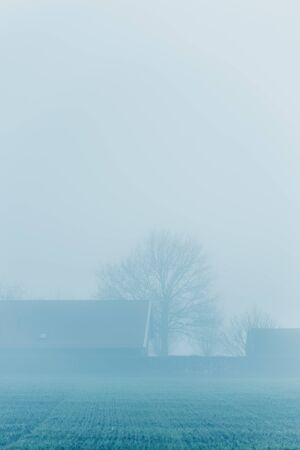 House in foggy countryside during winter.