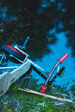 Abandoned kids tricycle in puddle of dark water in forest.