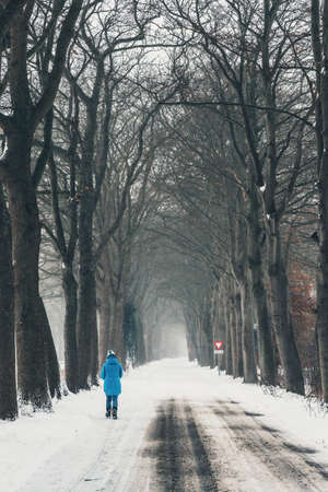 Woman in blue coat on snowy country road.