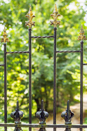 Close up of an iron fence at a private driveway with green vegetation behind it.