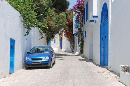 Beautiful streets of Sidi Bou Said, Tunisia.