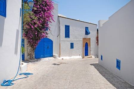 Mooie straten van Sidi Bou Said, Tunesië. Stockfoto