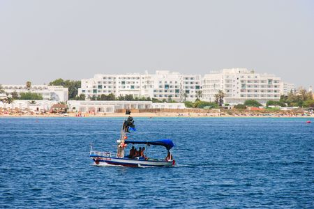 Scene at mediterranean beach resort in Tunisia. Stock Photo