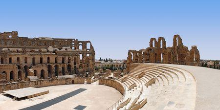 Het UNESCO-werelderfgoed, ruïne van Romeinse Colosseum in El-Jem, Tunesië. Stockfoto