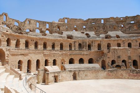 Ruin of Roman Amphitheatre in El-Jem, Tunisia photo