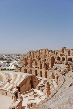 Antiguo Anfiteatro Romano en El-JEM, T�nez (Patrimonio Mundial de la UNESCO)  Foto de archivo