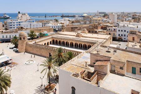 Top uitzicht op Medina van Sousse, Tunesië Stockfoto