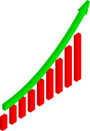 Business Graph with Arrow Showing to Up (vector)