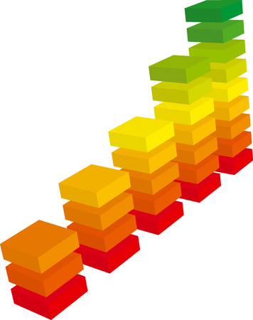 column chart: Color graph from red to green growth made of bricks (vector) Illustration