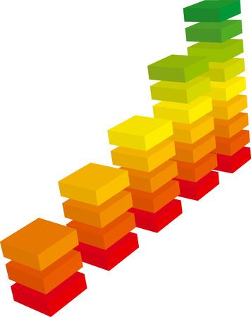 grafico vendite: Grafico a colori dal rosso al verde crescita fatta di mattoni (vector) Vettoriali
