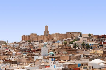 Overall view of city, roofs of houses, archeology museum of Sousse, Tunisia