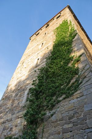 Looking up to Stone Tower of Castle