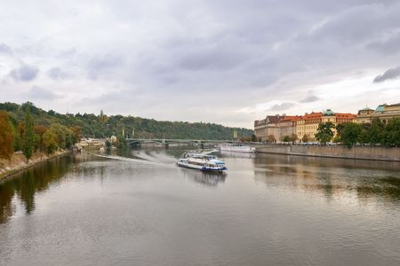 View on to Prague from the Charles Bridge Stock Photo