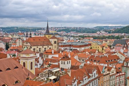 Overcast sky above the roofs of old Prague Stock Photo