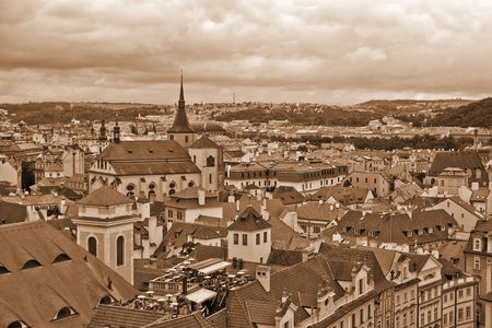 Roofs of old Prague (SEPIA) Stock Photo
