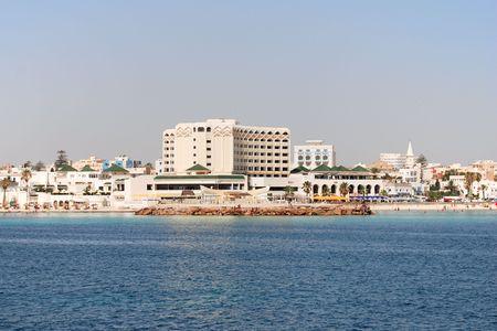 Scène op de Middellandse Zee strandresort in Tunesië