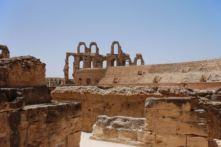 Puin van Romeins amfitheater in El-Jem, Tunesië (UNESCO wereld erf goed) Stockfoto