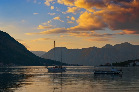 Gorgeous Sunset in the Kotor Bay (Boka Kotorska), Montenegro Stock Photo