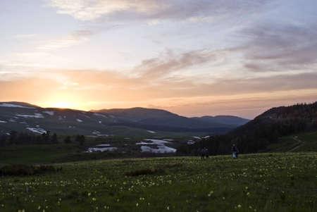 kavkaz: Sunset in mountains
