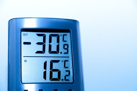 Digital thermometer in steel color that shows a very cold climate outdoor