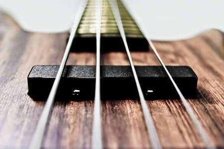 electric bass guitar in brown wood