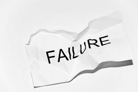 white crumpled paper with the word failure Stock Photo