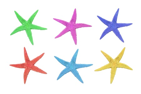six starfish in different colors, pink, green, blue, turquoise, red and yellow on a white background