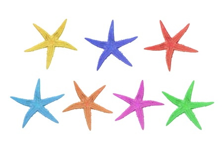 Seven starfish in different colors, pink, green, blue, turquoise, beige, red and yellow on a white background Stock Photo - 18080768