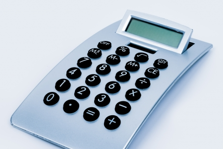 just a simple calculator with keypad and display on a clean white background