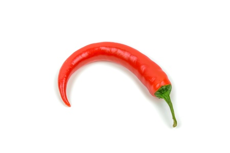 one red chili fruit on a white background Stock Photo