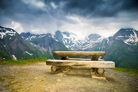 resting place in the Alps with clouds in the background