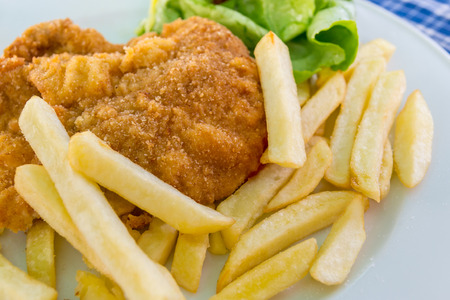 schnitzel: schnitzel with chips and salad on a white plate Stock Photo